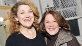 Cinderella's fairy godmother Victoria Clark welcomes fellow Tony winner Linda Lavin into her dressing room.