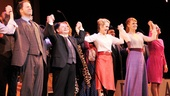 Fiorello!'s principal players Shuler Hensley, Danny Rutigliano, Erin Dilly, Kate Baldwin and Jenn Gambatese join hands for a final bow.