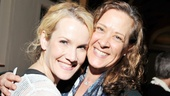 Erin Dilly shares a hug with fellow Broadway star Karen Ziemba.