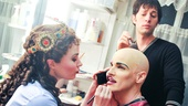 Phantom makeover! Boggess and Barisich stop by star Hugh Panaros dressing room to add some finishing touches to his look.