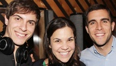 Between takes, Derek Klena, Lindsay Mendez and Josh Segarra catch up at MSR Studios.