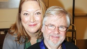 Kristine Nielsen presents playwright Christopher Durang with a medal honoring his recent induction into the Theater Hall of Fame, which she presented at a January 2013 ceremony.