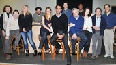 The entire company of The Big Knife (plus director Doug Hughes, seated next to Cannavale) strikes a pose on the rehearsal set. Come see the real thing at the American Airlines Theatre this spring!