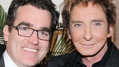 Barry Manilow and Brian d'Arcy James, who appeared in Manilow's musical Harmony, are all smiles as they pose for a picture.