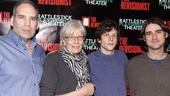 Onstage family members Daniel Oreskes, Vanessa Redgrave, Jesse Eisenberg and director Kip Fagan greet the cameras after the show.