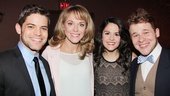 Real-life stage couple Jeremy Jordan and Ashley Spencer pose with Wickeds fictional stage couple Catherine Charlebois (Nessarose) and F. Michael Haynie (Boq).