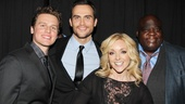 Lucky Jane! Here she is surrounded by the super-talented Jonathan Groff, Cheyenne Jackson and Michael Mandell.
