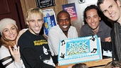 Rock of Ages players (clockwise from l.) Neka Zang, Joey Calveri, Andre Ward, Michael Minarik, Tony LePage, Kate Rockwell and Cody Scott Lancaster take a cake break.