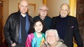 Anthony Warlow and Lilla Crawford pose with the musical's legendary creative team: scribe Thomas Meehan, composer Charles Strouse and lyricist Martin Charnin.