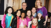 Katie Finneran and the Annie album's 12-time Grammy-winning producer Thomas Z. Shepard take one final photo with the show's pint-sized co-stars. Congrats to all! Look for the recording in May.