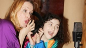 Leading ladies Katie Finneran and Lilla Crawford share a set of headphones in this sweet photo!