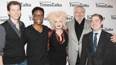 Congrats to the talented Kinky Boots team! From left: stars Stark Sands and Billy Porter, composer/lyricist Cyndi Lauper, writer Harvey Fierstein and musical director Brian Usifer. See their work live at Broadway's Al Hirschfeld Theatre.