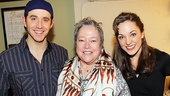 Kathy Bates takes off her cool blue shades to pose for a final photo with Cinderella headliners Santino Fontana and Laura Osnes. Check out Cinderella for yourself at the Broadway Theatre.