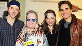Cinderella stars Santino Fontana and Laura Osnes and producer Walter Grossman (right) welcome Oscar winner and Tony nominee Kathy Bates backstage at the Broadway Theatre.