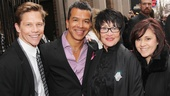 Actor Jack Noseworthy and his partner, Hands on a Hardbody choreographer Sergio Trujillo join dancing legend Chita Rivera and her daughter Lisa Mordente for a red carpet photo.