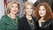 Kinky Boots producer Daryl Roth finds herself nestled between two absolutely fabulous Tony-winning ladies, Christine Baranski and Bernadette Peters.