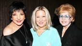 Wow! Legendary stage & screen divas Liza Minnelli and Debbie Reynolds flank Bette Midler backstage after Midler's first preview in I'll Eat You Last: A Chat with Sue Mengers.