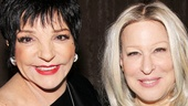 Liza Minnelli and Bette Midler catch up backstage at the Booth Theatre. Looking good, ladies!
