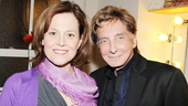 Vanya and Sonia and Masha and Spike leading lady Sigourney Weaver welcomes the one and only Barry Manilow backstage at the Golden Theatre.