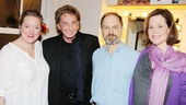 Frequent theatergoer (and recent Broadway veteran) Barry Manilow congratulates Vanya's trio of stars Kristine Nielsen, David Hyde Pierce and Sigourney Weaver.