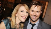 Comedienne Lisa Lampanelli comes in close for a photo with Tony nominee Andrew Rannells.