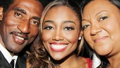 Leading lady Patina Miller is flanked by her proud stepdad Tim and mom Robin.