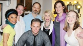 The entire Vanya cast surrounds Joan Rivers: Shalita Grant, Kristine Nielsen, Billy Magnussen, David Hyde Pierce, Sigourney Weaver and understudy Liesel Allen Yeager.