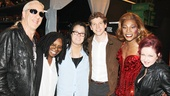 Look who's here! Dee Snider, Whoopi Goldberg and Rosie O'Donnell say hello to Kinky Boots stars Stark Sands and Billy Porter and composer Cyndi Lauper.