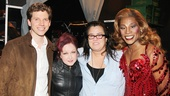 After the show, an emotional Rosie ODonnell congratulates Stark Sands, Cyndi Lauper and Billy Porter.