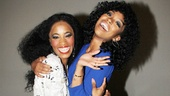 Tony nominee Valisia LeKae (who plays the legendary Diana Ross) shares a fabulous moment backstage with music superstar Brandy.