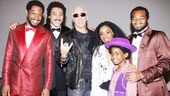 Bryan Terrell Clark, Charl Brown, Valisia LeKae, Raymond Luke Jr. and Brandon Victor Dixon welcome rock star Dee Snider backstage at Motown The Musical. What a great looking crew!