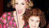 Annies two leading, ladies Jane Lynch and Lilla Crawford, come together for an awesome opening night shot.