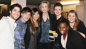 Jane Lynch finds herself surrounded by her loving and supportive Glee co-stars on her opening night in Annie. From left: Darren Criss, Kevin McHale, Jenna Ushkowitz, Jane Lynch, Chris Colfer, Alex Newell and Ashley Fink.