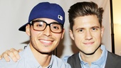 Aaron Tveit welcomes co-star Manny Montana backstage after the sold-out show.
