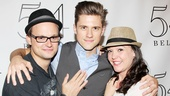 Look who popped in! Tveit receives a surprise visit from Rock of Ages' Jeremy Woodard and Nice Work's Cameron Adams.