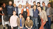 The Night Larry Kramer Kissed Me producers Tom Viola and Sean Strub, director Robert La Fosse, author and star David Drake and the ensemble cast surround the play's namesake, Normal Heart playwright Larry Kramer after the 20th anniversary benefit performance.