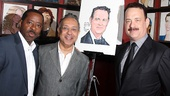 Lucky Guy's Tony-nominated trio Courtney B. Vance, George C. Wolfe and Tom Hanks come in close for a photo at Sardi's.