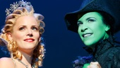 Katie Rose Clarke as Glinda and Lindsay Mendez as Elphaba in Wicked.