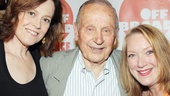 It's a Crazy Mary reunion! Stars Sigourney Weaver and Kristine Nielsen greet playwright A.R. Gurney.