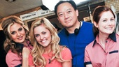 Life of an Actress stars Bart Shatto, Orfeh, Taylor Louderman and Allison Case take a company photo with director, writer and composer Paul Chau (c.) and executive producer Richard Speciale.
