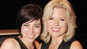 Krysta Rodriguez welcomes her Smash co-star Megan Hilty to the Longacre Theatre.