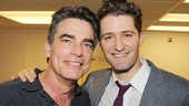 Peter Gallagher and Matthew Morrison share a smile backstage at Broadway's living room, 54 Below.