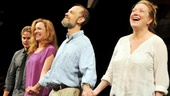 Julie White shares her first bow as Masha in Vanya and Sonia and Masha and Spike with her onstage boytoy Billy Magnussen and stage siblings David Hyde Pierce and Kristine Nielsen.