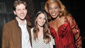 Singer-songwriter (and future Broadway composer) Sara Bareilles steps backstage to greet Kinky Boots headliners Stark Sands and Billy Porter.