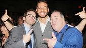 Zachary Levi parties alongside his co-stars, understudy Eric Ankrim (who briefly took over for Levi during Comic-Con) and scene-stealer Blake Hammond.
