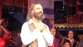 Star Eric Anderson, who plays Rabbi Shlomo Carlebach, takes his opening night bow in Broadway's Soul Doctor.