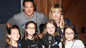 Bertie Carvel and Lauren Ward get behind Matilda title stars Sophia Gennusa, Oona Laurence, Milly Shapiro and Bailey Ryon at the musical's recording session.