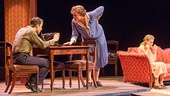 Zachary Quinto as Tom Wingfield, Cherry Jones as Amanda Wingfield and Celia Keenan-Bolger as Laura Wingfield in The Glass Menagerie.