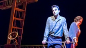 Zachary Quinto as Tom Wingfield and Cherry Jones as Amanda Wingfield in The Glass Menagerie.