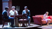 Zachary Quinto as Tom Wingfield, Cherry Jones as Amanda Wingfield, Brian J. Smith as the Gentleman Caller and Celia Keenan-Bolger as Laura Wingfield in The Glass Menagerie.